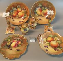 Collection of Coalport fruit design hand painted items to include; pair of similar fruit bowls,