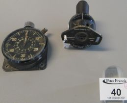 Aircraft type dashboard or flight panel stopwatch, together with a similar aircraft type ceiling