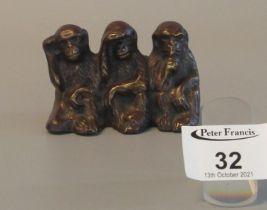 Brass monkey ornament 'Hear no evil, see no evil, speak no evil', 7cm wide approx. (B.P. 21% + VAT)