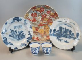 A collection of ceramics to include; a pair of 18th Century blue and white tin glazed Delft