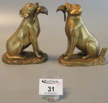 Two matching brass retriever dog ornaments with duck prey. 13.5cm high approx. (2) (B.P. 21% + VAT)