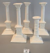 Collection of Royal creamware 'Occasions' Corinthian column candlesticks with relief swag