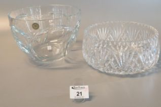 Czech Republic hand cut crystal bowl, together with another star cut bowl with star cut to the base.