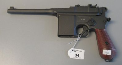Gletcher CO2 powered BB firing .177 calibre air pistol in the form of a vintage mauser. Together