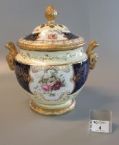 Early 20th Century Coalport porcelain pot-pourri vase and reticulated cover with inner lid,