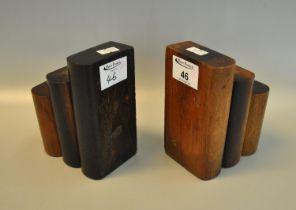 Pair of novelty bookends, both marked with plaque 'Made from teak wood from the RMS Mauretania. (B.