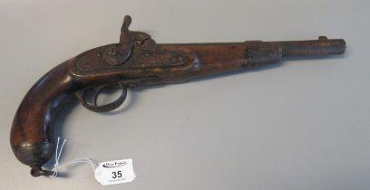 19th Century muzzle loading percussion pistol in sea service design. (B.P. 21% + VAT) Heavily