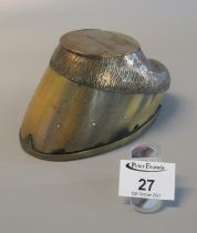 Metal mounted horses hoof inkwell, originally silver plated, the hinged cover marked 'Shamrock'.