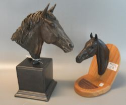 Two mounted horses head sculptures to include; Genesis fine arts 'Heredities' bronzed resin horses