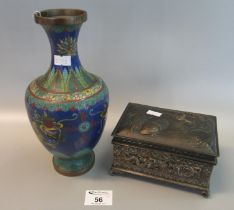 Chinese cloisonné vase decorated with dragons, flowers and foliage, together with a Japanese white
