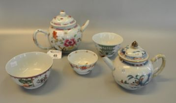 Mixed lot of Chinese porcelain to include; 18th Century famille rose teapot, a smaller 18th