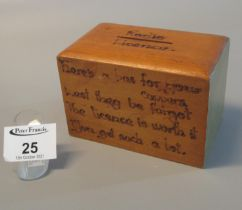 20th Century 'Radio licence' savings type money box inscribed 'Here's a box for your coppers lest
