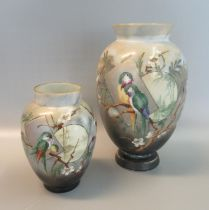Victorian opaline glass baluster vase decorated with parrots amongst foliage, together with a