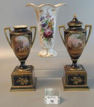 Pair of early 20th Century Austrian Vienna porcelain urn shaped two handled vases, both standing
