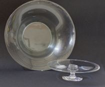 Glass fruit bowl & footed cake stand