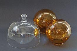 Glass dome and amber glass spherical bulbs