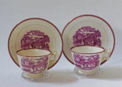 Sunderland pink lustre tea cups & saucers