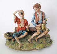 Capodimonte porcelain figure of two boys