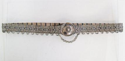 White metal belt.