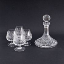 Somerset crystal brandy balloons and Waterford ship's decanter.