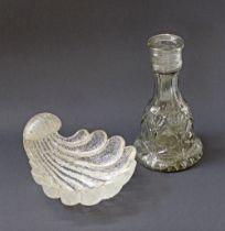 Glass bottle & bowl.