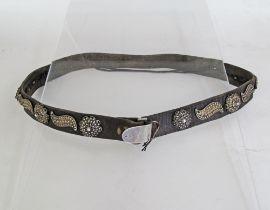 Leather & silver belt.