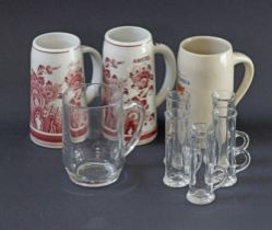 Glass and ceramic beer tankards.