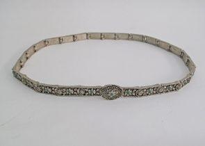 White metal narrow belt.