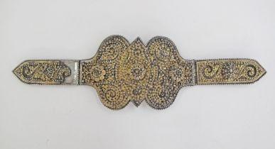 Silver gilt filigree belt buckle