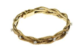 Armband 32.35 g 750/- Gelbgold mit Diamanten