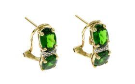 Ohrringe 3.05 g 585/- Gelbgold mit Diamanten und Turmaline