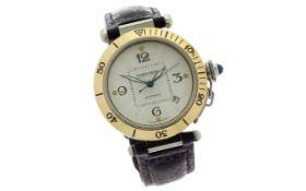 Cartier Pasha Ref. 2378 Automatik 750/- Gelbgold/Edelstahl mit Lederband ohne Box und Papiere