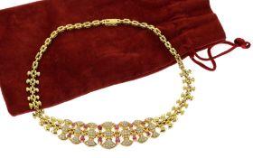 Collier 750/- Gelbgold mit Diamanten und Rubinen 52.94g