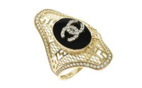 Ring 585/- Gelbgold mit Zirkonia und Farbstein 5.41g