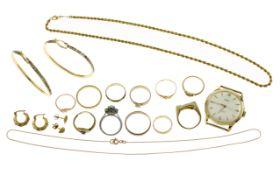 Konvolut Goldschmuck mit Diamant 14.15g 333/- Gold. 21.55g 585/- Gold. 38.36g 750/- Gold