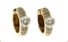 Creolen 6.43 g 585/- Gelbgold und Weissgold mit 38 Diamanten zus. ca. 0.46 ct. G/si
