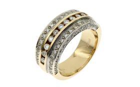 Ring 13.70 g 585/- Gelbgold und Weissgold mit Diamanten. 70 Diamanten zus. ca. 1.40 ct.- Ringröße 59