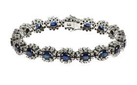 Armband 585/- WG mit Diamanten und Saphiren