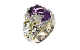 Ring 750/- WG und GG mit Diamanten. Smaragden und Amethysten