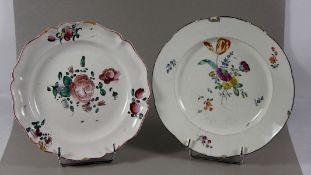 Konvolut Teller2 Teller, davon 1mal Frankenthal 18. Jhd. mit buntem Blütendekor, dieser mit