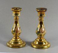 Paar Silberglas-Kerzenleuchter19. Jhd., wohl Bömen, Paar Kerzenleuchter aus hellgelbem Glas,