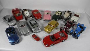 Konvolut Bburago-Modellautos16 Stk. Bburago Modellautos, Maßstab 1/18, bewegliche Elemente,