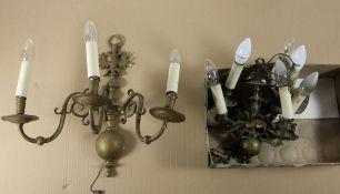 Konvolut Lampen2tlg. Konvolut Lampen, Metall, 3flammige Wandlampe mit Adler- u. Halbkugelmoti