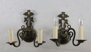 Paar WandlampenPaar je 2armige Wandlampe, Metallhalterung mit stilisiertem Doppeladler, Gebr.