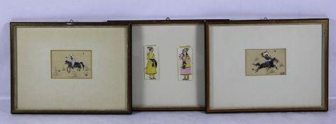 Konvolut persische MiniaturenPersien, 4 Stk. Miniaturen, Paar Miniaturen mit Polospielern zu