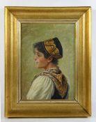 Hamel, Otto20. Jhd., Bildnis einer jungen Frau in Tracht, verso Stempel Otto Hamel Portrait-