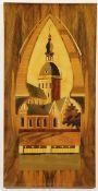 Intarsienbild20. Jhd., Intarsienbild, verschiedene Edelhölzer, Blick auf einen Kirchturm, H.
