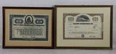 Konvolut Aktien2 Aktien, 1mal The Cuba Railroad Company datiert 1926, sowie Playboy Enterpris