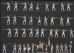 France - Infanterie de ligne au feu. 1812-1815. 1 officier à cheval, 2 officiers à pied, 1 drapeau,