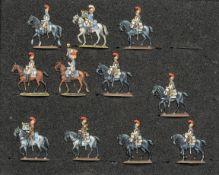 France - Cavalerie lourde. Les carabiniers au pas. 1 officier, 2 trompettes, <br>1 étendard, 6 solda